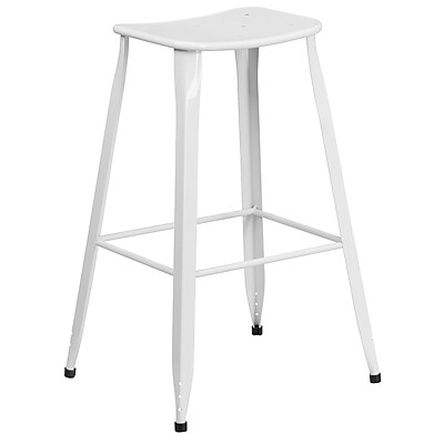 30'' High White Metal Indoor-Outdoor Barstool (ET-3604-30-WH-GG)