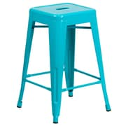 24'' High Backless Crystal Teal-Blue Indoor-Outdoor Counter Height Stool (ET-BT3503-24-CB-GG)