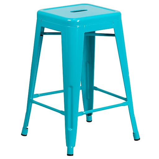 Flash Furniture Crystal Teal-Blue Indoor Outdoor Barstools (ETBT350324CB)