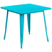 31.5'' Square Crystal Teal-Blue Metal Indoor-Outdoor Table (ET-CT002-1-CB-GG)