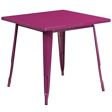 Table carrée en métal de 31,5 po pour intérieur/extérieur, violet (ET-CT002-1-PUR-GG)