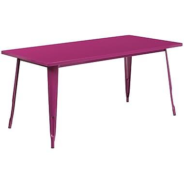 31.5'' x 63'' Rectangular Purple Metal Indoor-Outdoor Table (ET-CT005-PUR-GG)