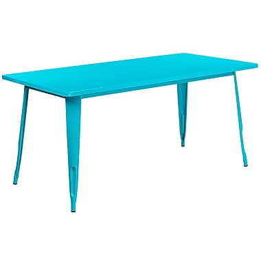 Table rectangulaire en métal de 31,5 x 63 po pour intérieur/extérieur, bleu sarcelle cristal (ET-CT005-CB-GG)