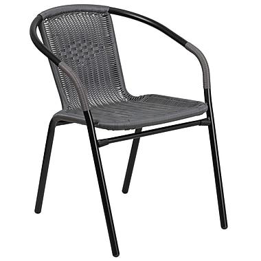 Chaise de restaurant empilable en rotin gris pour l'intérieur et l'extérieur (TLH-037-GY-GG)