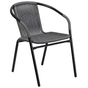 Gray Rattan Indoor-Outdoor Restaurant Stack Chair (TLH-037-GY-GG)