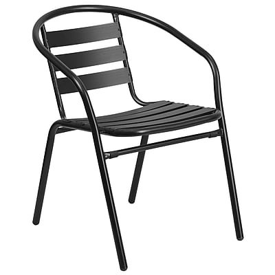Black Metal Restaurant Stack Chair with Aluminum Slats (TLH-017C-BK-GG)