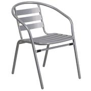 Chaise de restaurant empilable en métal à lattes en aluminium, argenté (TLH-017C-GG)