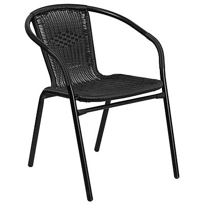 Black Rattan Indoor-Outdoor Restaurant Stack Chair (TLH-037-BK-GG)
