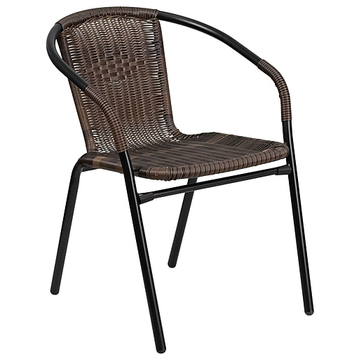 Dark Brown Rattan Indoor-Outdoor Restaurant Stack Chair (TLH-037-DK-BN-GG)