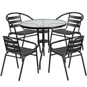 31.5'' Round Glass Metal Table with 4 Black Metal Aluminum Slat Stack Chairs (TLH-072RD-017CBK4-GG)