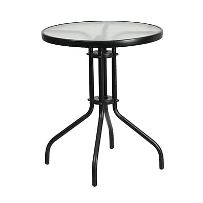 23.75'' Round Tempered Glass Metal Table (TLH-070-1-GG)