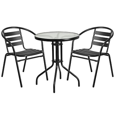 23.75'' Round Glass Metal Table with 2 Black Metal Aluminum Slat Stack Chairs (TLH-071RD-017CBK2-GG)