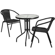 23.75'' Round Glass Metal Table with 2 Black Rattan Stack Chairs (TLH-071RD-037BK2-GG)
