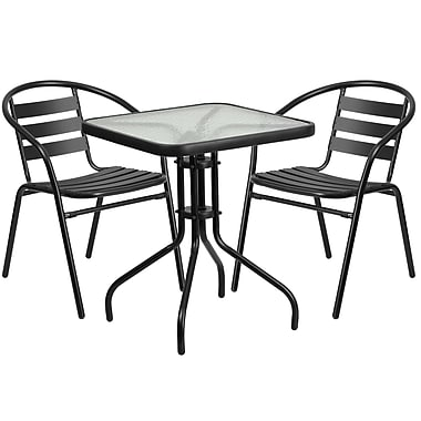 23.5'' Square Glass Metal Table with 2 Black Metal Aluminum Slat Stack Chairs (TLH-0731SQ-017CBK2-GG)