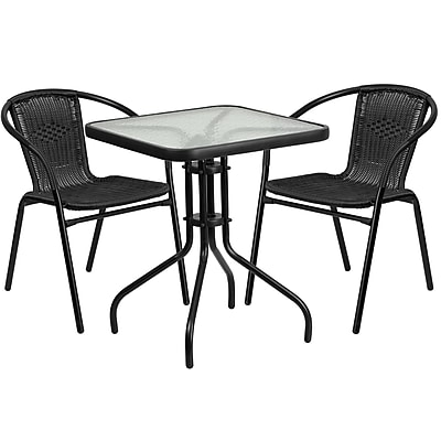 23.5'' Square Glass Metal Table with 2 Black Rattan Stack Chairs (TLH-0731SQ-037BK2-GG)
