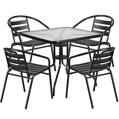 31.5'' Square Glass Metal Table with 4 Black Metal Aluminum Slat Stack Chairs (TLH-0732SQ-017CBK4-GG)