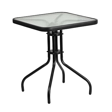 23.5'' Square Tempered Glass Metal Table (TLH-073A-1-GG)