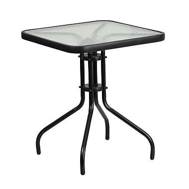Table carrée en verre trempé et en métal, 23,5 po (TLH-073A-1-GG)