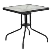 28'' Square Tempered Glass Metal Table with Black Rattan Edging (TLH-073R-BK-GG)
