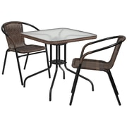 28'' Square Glass Metal Table with Dark Brown Rattan Edging and 2 Dark Brown Rattan Stack Chairs (TLH-073SQ-037BN2-GG)