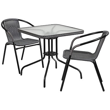 28'' Square Glass Metal Table with Grey Rattan Edging and 2 Grey Rattan Stack Chairs (TLH-073SQ-037GY2-GG)