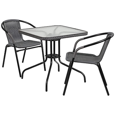 28'' Square Glass Metal Table with Gray Rattan Edging and 2 Gray Rattan Stack Chairs (TLH-073SQ-037GY2-GG)