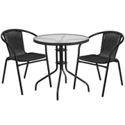 28'' Round Glass Metal Table with Black Rattan Edging and 2 Black Rattan Stack Chairs (TLH-087RD-037BK2-GG)
