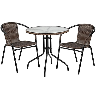28'' Round Glass Metal Table with Dark Brown Rattan Edging and 2 Dark Brown Rattan Stack Chairs (TLH-087RD-037BN2-GG)