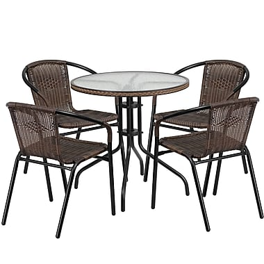 28'' Round Glass Metal Table with Dark Brown Rattan Edging and 4 Dark Brown Rattan Stack Chairs (TLH-087RD-037BN4-GG)