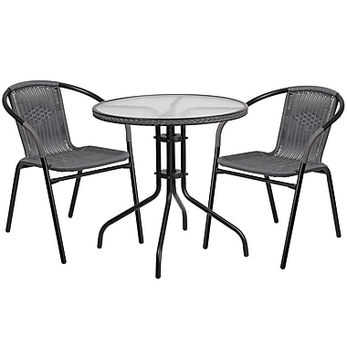 28'' Round Glass Metal Table with Grey Rattan Edging and 2 Grey Rattan Stack Chairs (TLH-087RD-037GY2-GG)