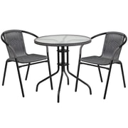28'' Round Glass Metal Table with Gray Rattan Edging and 2 Gray Rattan Stack Chairs (TLH-087RD-037GY2-GG)