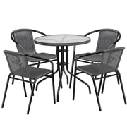 28'' Round Glass Metal Table with Gray Rattan Edging and 4 Gray Rattan Stack Chairs (TLH-087RD-037GY4-GG)