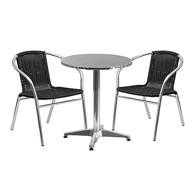 23.5'' Round Aluminum Indoor-Outdoor Table with 2 Black Rattan Chairs (TLH-ALUM-24RD-020BKCHR2-GG)