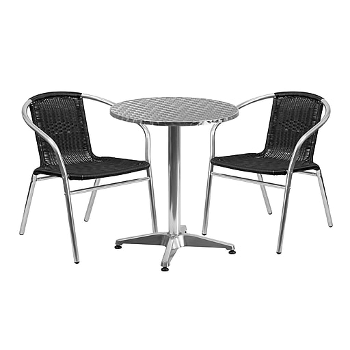 Flash Furniture 23.5'' Round Aluminum Indoor-Outdoor Table with 2 Black Rattan Chairs (TLH-ALUM-24RD-020BKCHR2-GG)