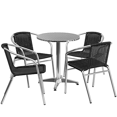 23.5'' Round Aluminum Indoor-Outdoor Table with 4 Black Rattan Chairs (TLH-ALUM-24RD-020BKCHR4-GG)