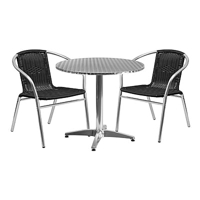 31.5'' Round Aluminum Indoor-Outdoor Table with 2 Black Rattan Chairs (TLH-ALUM-32RD-020BKCHR2-GG)