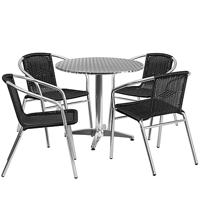 31.5'' Round Aluminum Indoor-Outdoor Table with 4 Black Rattan Chairs (TLH-ALUM-32RD-020BKCHR4-GG)