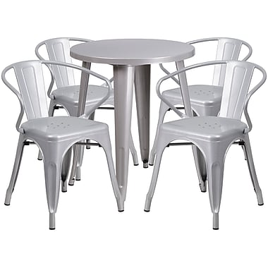 24'' Round Silver Metal Indoor-Outdoor Table Set with 4 Arm Chairs (CH-51080TH-4-18ARM-SIL-GG)