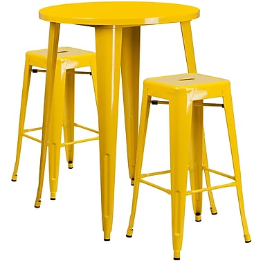 30'' Round Yellow Metal Indoor-Outdoor Bar Table Set with 2 Square Seat Backless Barstools (CH-51090BH-2-30SQST-YL-GG)