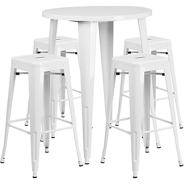 30'' Round White Metal Indoor-Outdoor Bar Table Set with 4 Square Seat Backless Barstools (CH-51090BH-4-30SQST-WH-GG)