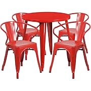 30'' Round Red Metal Indoor-Outdoor Table Set with 4 Arm Chairs (CH-51090TH-4-18ARM-RED-GG)