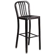 Flash Furniture 30'' High Black-Antique Gold Metal Indoor-Outdoor Barstool with Vertical Slat Back (CH-61200-30-BQ-GG)