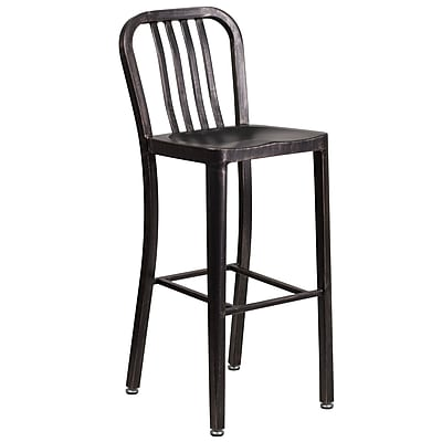 30'' High Black-Antique Gold Metal Indoor-Outdoor Barstool with Vertical Slat Back (CH-61200-30-BQ-GG)