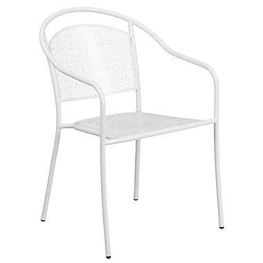 White Indoor-Outdoor Steel Patio Arm Chair with Round Back (CO-3-WH-GG)