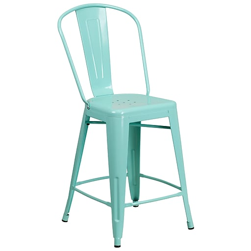24'' High Mint Green Metal Indoor-Outdoor Counter Height Stool with Back (ET-3534-24-MINT-GG)