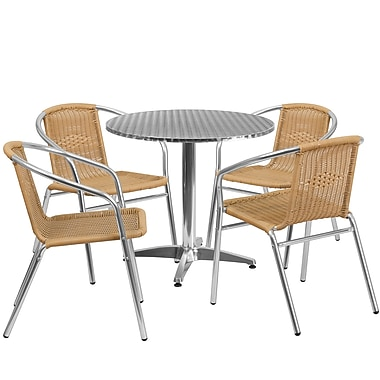 31.5'' Round Aluminum Indoor-Outdoor Table with 4 Beige Rattan Chairs (TLH-ALUM-32RD-020BGECHR4-GG)