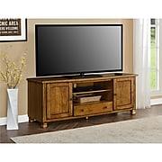 "Ameriwood Home San Antonio Wood Veneer TV Stand, Medium Brown, For TVs up to 60"" (1772096COM)"