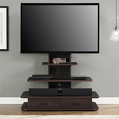 Altra Galaxy 70 Tv Stand With Mount And Drawers Dark Walnut