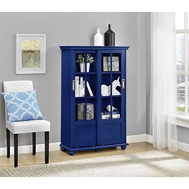 Altra Aaron Lane Bookcase with Sliding Glass Doors, Navy (9448596COM)