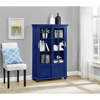 Altra Aaron Lane Bookcase with Sliding Glass Doors, Navy (9448596COM)